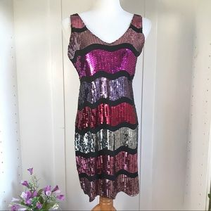 Snap Glam Striped Sequin Dress